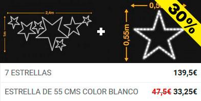 Descuento 2 unidad en 7 estrellas y Estrella 55cms blanco