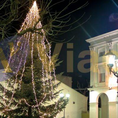<strong>Guirnalda led</strong> en árbol Navidad clásico en la plaza mayor