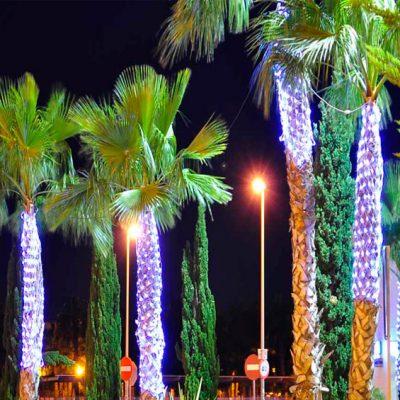 Cómo montar redes luces Navidad árboles iluminación LED