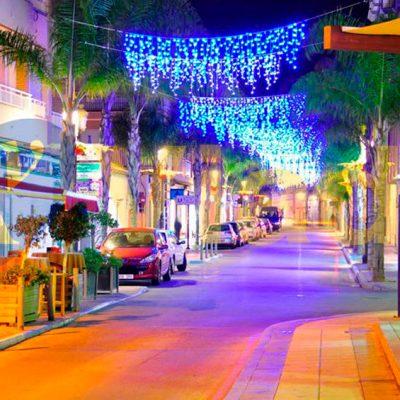 Bienvenida Navidad avenida comercial